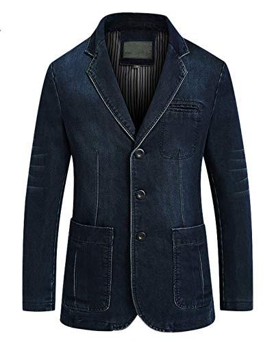 (Chartou Men's Casual Notched Collar 3 Button Slim Corduroy-Twill Blazer Jacket (Dark Blue, X-Large))