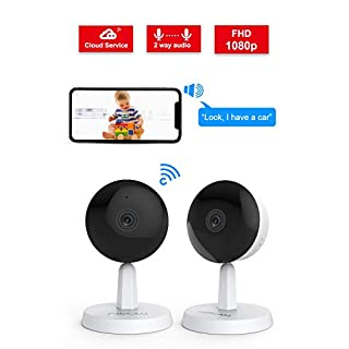 Video Baby Monitor,Foscam X1 1080P Wireless Pet Baby Monitor 2 Way Audio 1 Button Call Night Vision Smart Home Indoor Security Camera Works with Alexa, 2.4GHZ Human Motion Detection 2 Pack