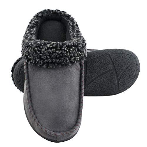 - Magtoe Men Memory Foam Moccasin Indoor Slippers Two-Tone Berber Fleece Collar House Shoes Grey