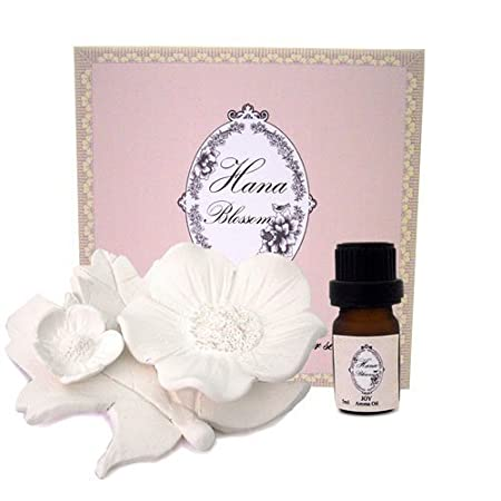 White flower porcelain room fragrance diffuser set with Joy mixed ...