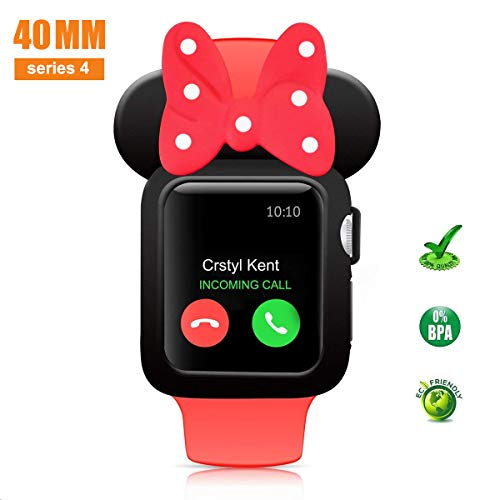 pipigo Cartoon Mouse Ears Watch Case Compatible Apple Watch Case 40MM Series 4 Sport/Edition/Nike iwatch Soft Silicone Protective Cover (Black&Red White)