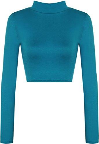 WearAll Womens Turtle Neck Crop Long Sleeve Plain Top - Teal - US 4-6 (UK 8-10)
