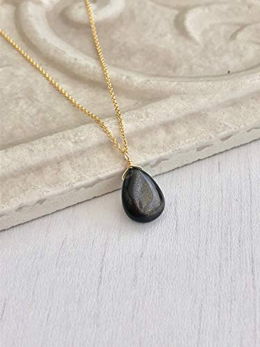 Black Rutile Necklace Birthstone Necklace Womens Gift For Her Teardrop Womens Necklace