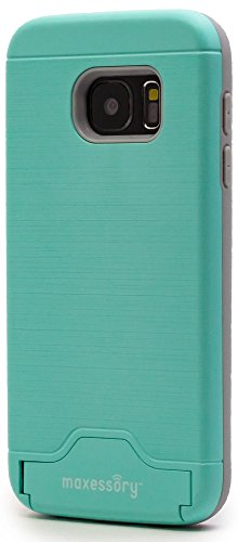 Samsung Galaxy S7 Case, Maxessory Maestro Credit Card Holder Shock-Proof Kickstand Dual-Layer Shield Hybrid Matte Slim Premium Professional Shell Cover Teal Black For Samsung Galaxy (Premium Shell Case)