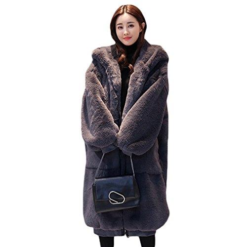 WanYang Abrigo Holgado Elegante de alta Calidad para Mujer Abrigo Cálido Cardigan de Color Sólido Outwear Gris