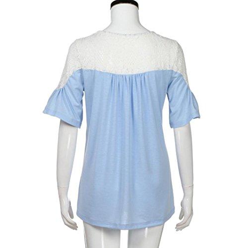 e2d5a64736c3 ... IMJONO T-Shirt Frauen Spitze Tops Tie Kurzarm Tops Bluse Blau 8e3n4SDOY