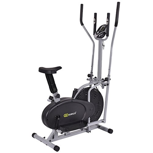 Elliptical Sit Down Bike: 2 IN 1 Elliptical Fan Bike Dual Cross Trainer Machine
