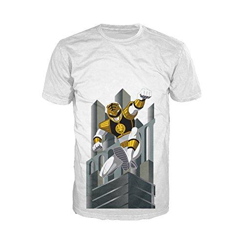 Power Rangers Men's White Ranger Deco T-Shirt XX-Large - Power White Ranger Outfit