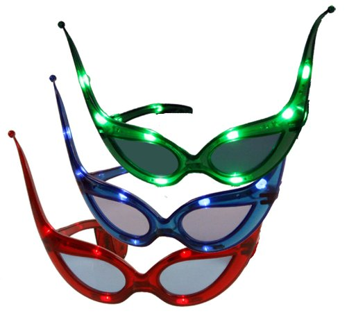 CARNIVAL-RAVE-EYES(TM) Costume Mask-Party Favor LED 3 PAIRS Flashing Glasses-RED BLUE GREEN -