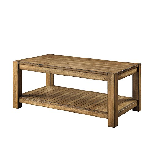 Wood Coffee Table Living Room Home Office Accent Furniture Cocktail Table Decor Decoration Storage Shelf Sturdy Robust Organizer Side End Table Rustic Maple Brown