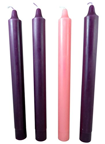 Advent Set Pillar Candle (Purple and Pink Wax Church Advent Christmas Candle Set, 1 1/2 X 16 Inch)