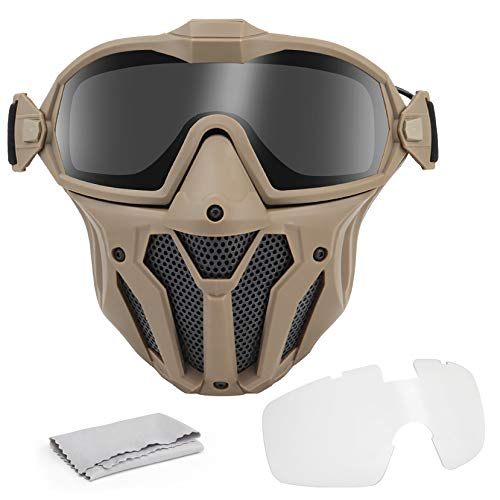 VISMIX Airsoft Mask, Full Face Tactical Mask with Detachable Anti Fog Goggles for Airsoft Hunting Games, Motorcycle, etc