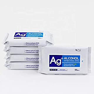 Antibacterial Sanitizing Disinfecting Alcohol Wipes (250 Wipes) - Disinfectant Hand Sanitizer Wipes - Wet Disinfect Cleaning Wipes for House - 5 Pack of 50