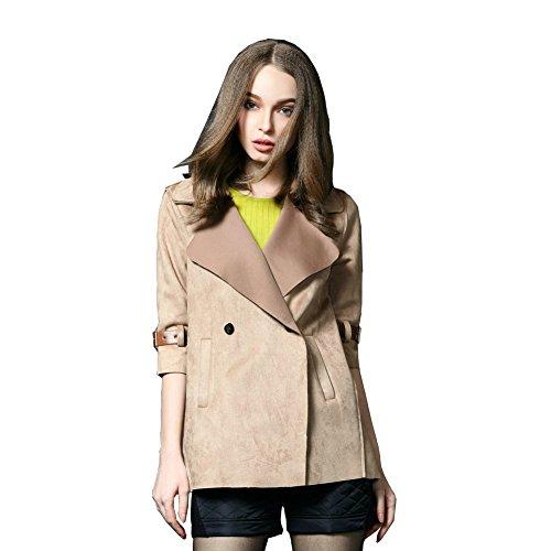 Yipost Women's Lapel Collar Jacket 3/4 Sleeves Coat Khaki M