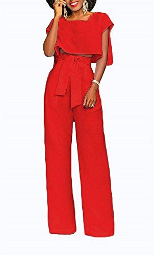 Pezzi Blusa Estivi Con High Pantalone Rot Party Semplice Glamorous Fashion Due Lunga Colori Donna Coulisse Smanicato Camicetta Moda Pantaloni Rotondo Tops Solidi Collo Waist Haidean 0xaOq7nwXn