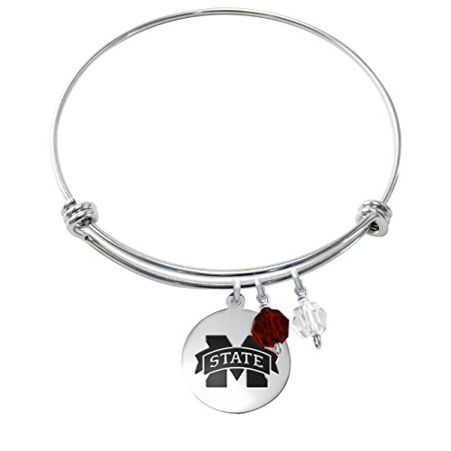 Mississippi State Bulldogs Stainless Steel Adjustable Bangle Bracelet with Round Charm & Crystal Accents