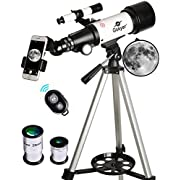#LightningDeal 87% claimed: Gskyer Telescope, Travel Scope, 70mm Aperture 400mm AZ Mount Astronomical Refractor Telescope for Kids Beginners - Portable Travel Telescope with Carry Bag, Smartphone Adapter and Bluetooth Remote