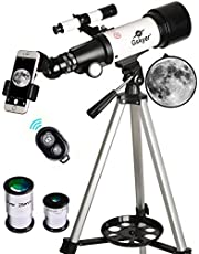 Gskyer Telescope, Travel Scope, 70mm Aperture 400mm AZ Mount Astronomical Refractor Telescope for Kids Beginners - Portable Travel Telescope with Carry Bag, Smartphone Adapter and Bluetooth Remote