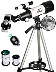 Gskyer 70mm Astronomical Refractor TelescopeThis 70x400mm refractor telescope can be a good observation of celestial bodies and terrestrial objects - best for viewing lunar and planetary. Featuring all coated glass optical components, the tr...