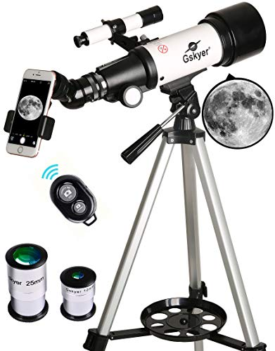 (Gskyer Telescope, Travel Scope, 70mm Aperture 400mm AZ Mount Astronomical Refractor Telescope for Kids Beginners - Portable Travel Telescope with Carry Bag, Smartphone Adapter and Bluetooth Remote)