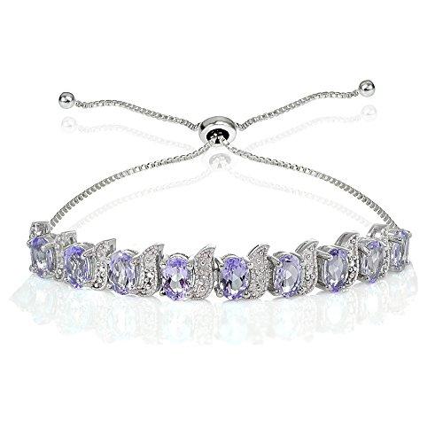 Ice Gems Sterling Silver Amethyst Oval & S Adjustable Tennis Bracelet