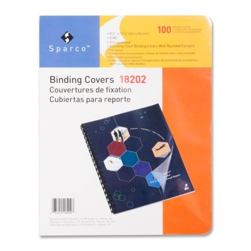 Sparco Presentation Cover, Round, Punched, 11-1/4 x 8-3/4 Inches, 100 per Pack, Clear(SPR18202)