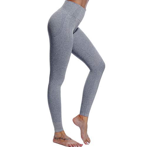 DOYOG Women's High Waist Slim Yoga Pants Fitness Tummy Control Workout Gym Pants Seamless 4 Way Stretch Yoga Leggings Slate Grey