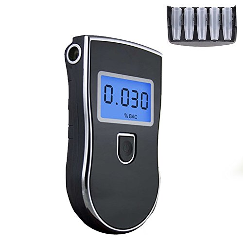 Breathalyzer, Breath Alcohol Tester,Professional Digital Breathalyzer, Portable Breath Alcohol Tester with 5 Mouthpieces Battery Power Alcohol Detector High-Precision for Home Use by BLQH (Image #2)