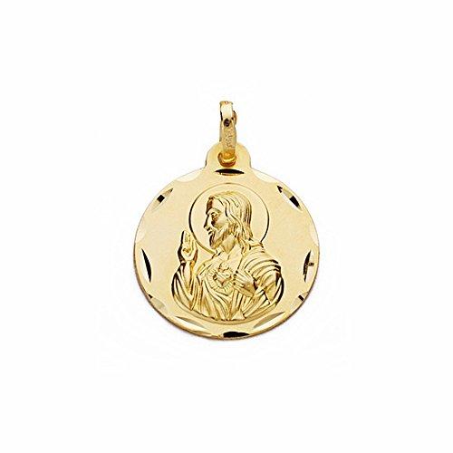 Médaille pendentif 18k 14mm en or Coeur de Jésus. sculpté sculptée [AA2488]
