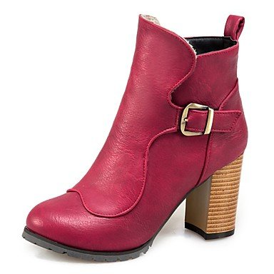 RTRY Women's Shoes Leatherette Fall Winter Comfort Boots Chunky Heel Round Toe Booties/Ankle Boots Buckle For Party & Evening Dress Burgundy US6 / EU36 / UK4 / CN36 Nrlc65YOh