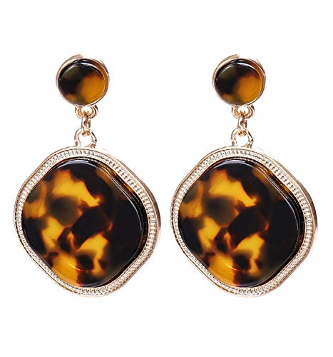 vogueknock Acrylic Disc Dangle Earrings Square Tortoise Shell Resin Drop Earrings for Women (Tortoise) -