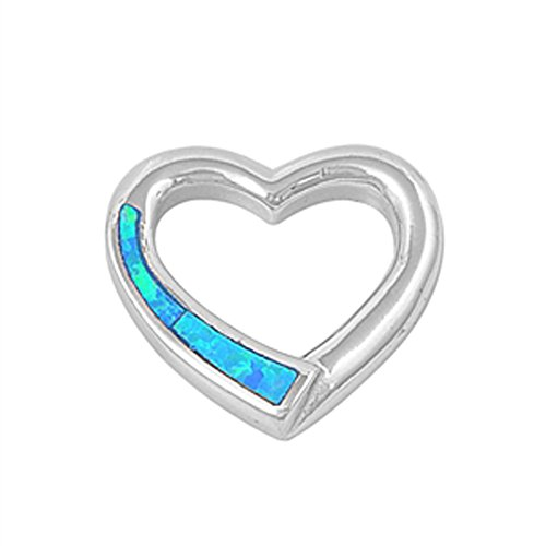 Heart Pendant Blue Simulated Opal .925 Sterling Silver Hanging Charm (Sterling Silver Opal Hanging)