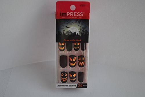 Halloween Nails (Impress Press-on Manicure Glow in the Dark Halloween Edition Nails - Oh So Shriek)