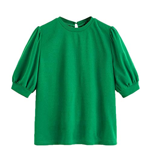 (Sunhusing Women's Summer Round Neck Half-Sleeve Simple Solid Color Loose Top T-Shirt Brief Crop Shirt Green)