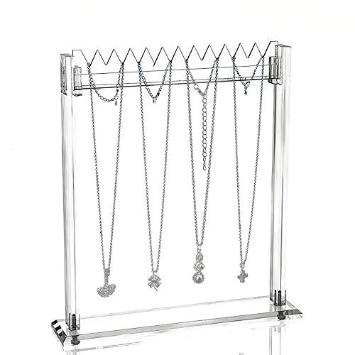 Lanscoe Necklace Display Stands Acrylic Bracelet Jewelry Tray Organizer Show for Women Girls Gallery Store Exhibit ()