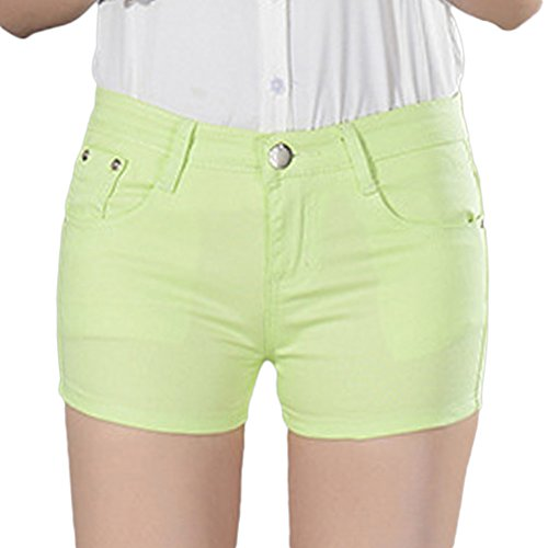 Pantaloncini Tinta Con Fit Tasca Donna Shorts Retro Slim Estate Chiaro Verde Unita 8qxYw1Yt5