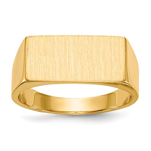 - 14k Yellow Gold Mens Signet Band Ring Solid Back Size 9.00 Man Fine Jewelry Dad Mens Gift Set