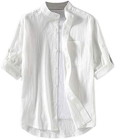 Lentta Mens Short Sleeve Linen Cotton Henley T Shirts Casual Beach Yoga Tee Top