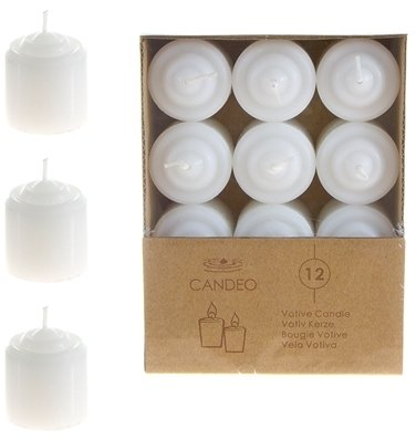 DDI 1489366 8 Hours Unscented Votive Candles - White Case Of 24