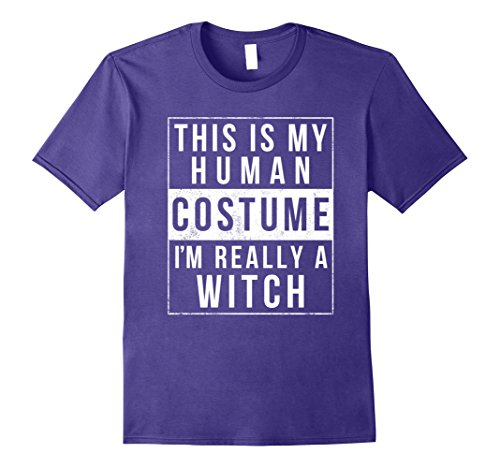 Mens Witch Halloween Costume Shirt Easy Simple Funny for Women Large Purple (Simple Cheap Funny Halloween Costumes)