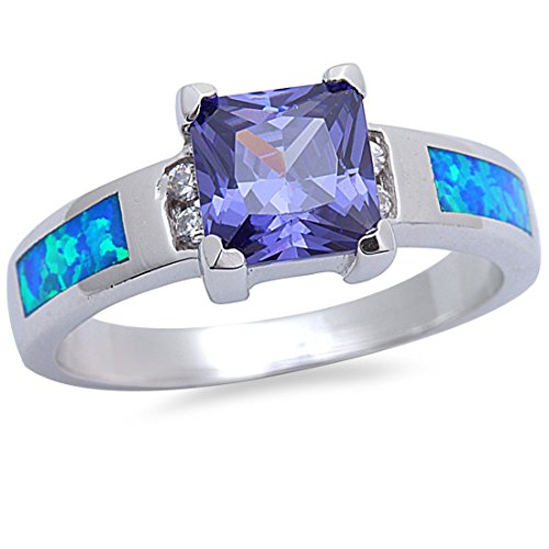 Princess Cut Simulated Tanzanite Round Cubic Zirconia Created Blue Opal 925 Sterling Silver Ring