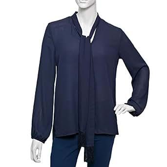 Parkland Blue Polyester V Neck Blouse For Women