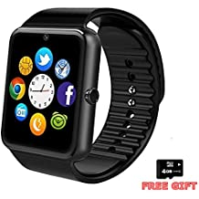 Bluetooth Smart Watch -LotssTouch Screen Smart Wrist Watch Smartwatch Phone with SIM Card Slot Camera Pedometer Sport Tracker Compatible iOS iPhone Android Samsung Phones for Men Women Child (Black)