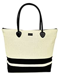 Tote Shoulder Beach Bag in Canvas Striped Large Foldable Zippered Fashion Cute for Travel and Everyday