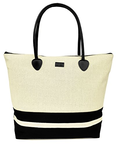 Beach Bag in Canvas Fashion Striped Large Foldable Zippered ()
