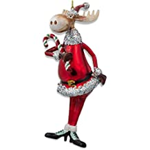 """BestPysanky 6"""" Chubby Moose with Candy Cane Glass Christmas Ornament"""
