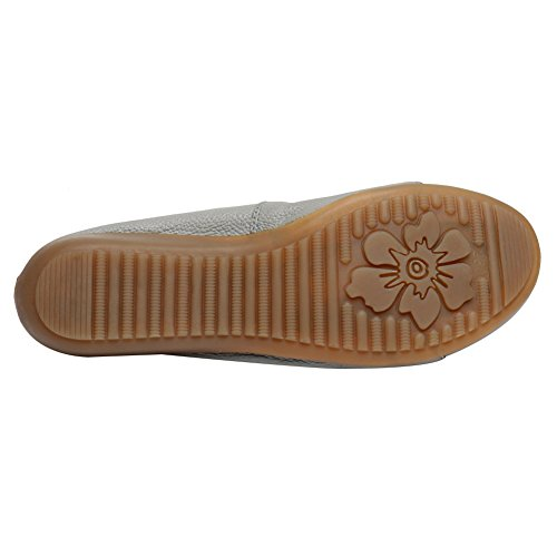 Suela Blanda Gris Bailarinas Zapatos Talón Piel Baja Jamron Mujer Comodidad Zapatillas Genuina Cuña De wqHpX1Y