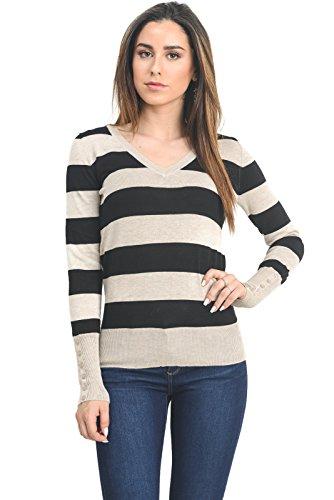 Stripe Pullover Sweater (Instar Mode InstarMode Women's Long Sleeve V-Neck Stripe Pullover Sweater (Oatmeal/Blk, Large))
