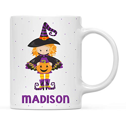 Andaz Press Personalized 11oz. Kids Milk Hot Chocolate Mug, Halloween Witches, 1-Pack, Custom Child's Birthday Christmas Coffee Cup