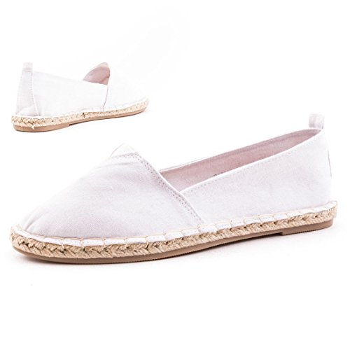 Damen Low Top Espadrilles Sneaker Slipper Leinen Canvas Textil Weiß